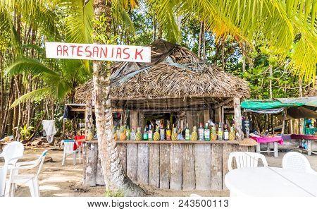Bocas Del Toro, Panama. March 2018. A View Of A Caribbean Beach Bar On Starfish Beach On Bocas Del T