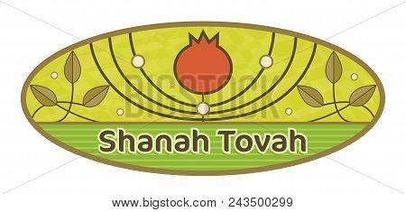 Rosh Hashanah Decorative Oval Sign With Shanah Tovah Text. Eps10