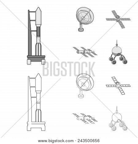Radio Radar, Docking In Space Spacecraft, Lunokhod. Space Technology Set Collection Icons In Outline