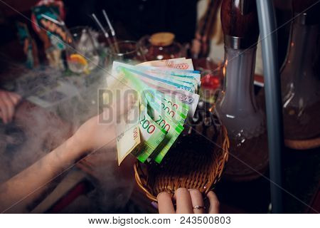 Russian roubles and some new 200 and 2000 roubles bills. poster