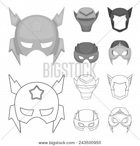 Helmet, Mask On The Head.mask Super Hero Set Collection Icons In Outline, Monochrome Style Vector Sy