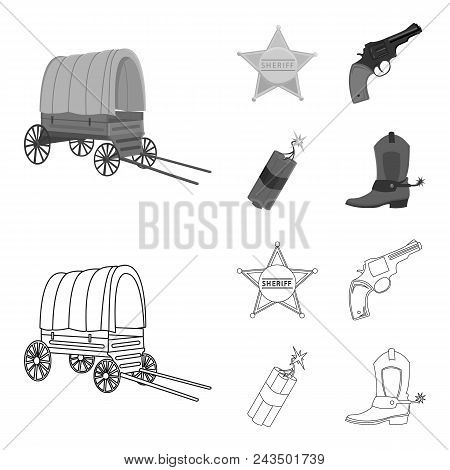 Star Sheriff, Colt, Dynamite, Cowboy Boot. Wild West Set Collection Icons In Outline, Monochrome Sty