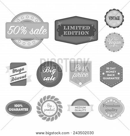 Different Label Monochrome Icons In Set Collection For Design. Index And Brand Vector Symbol Stock