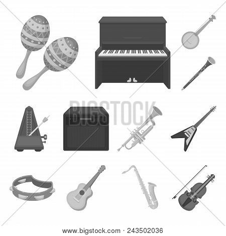 Musical Instrument Monochrome Icons In Set Collection For Design. String And Wind Instrument Vector