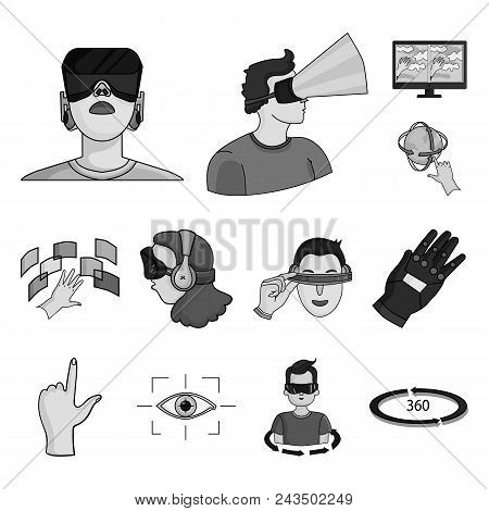 A Virtual Reality Monochrome Icons In Set Collection For Design. Modern Technology And Equipment Vec