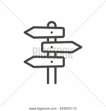 Direction Road Icon Vector. Line Signpost Symbol Isolated. Trendy Flat Outline Ui Sign Design. Thin