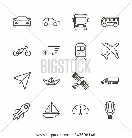 Transport Set Icon Vector. Outline Transportation Collection. Trendy Flat Auto Sign Design. Thin Lin