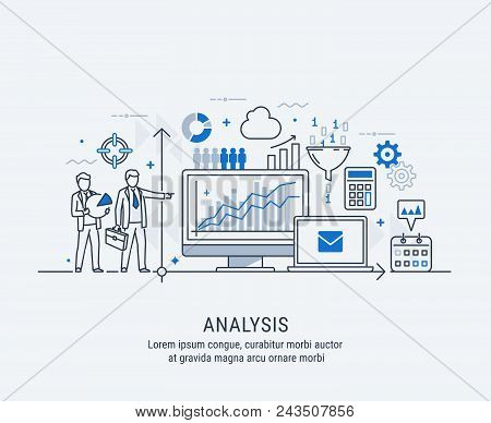 Modern Thin Line Design For Analysis Website Banner. Vector Illustration Concept For Business Analys