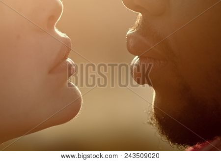 Passionate Couple Kissing, Boy And Girl. Woman And African Man Pout Lips For Kiss, Love. Multiethnic