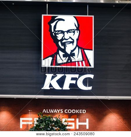 Yekaterinburg, Russia - May 31, 2018 - Kentucky Fried Chicken (KFC) Sign. KFC is a fast food restaurant chain that specializes in fried chicken