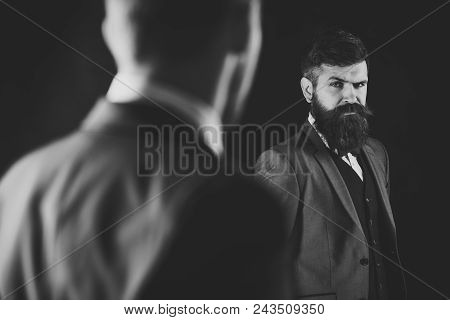 Meeting Of Reputable Businessmen, Black Background. Man With Beard On Suspicious Face, And Shoulders