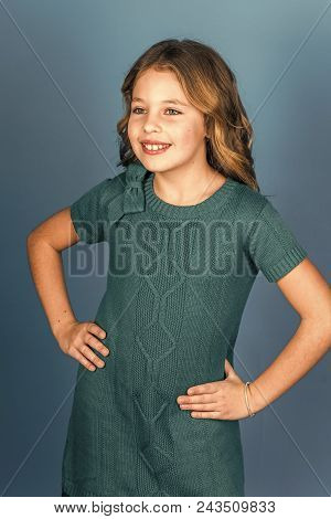 Fashion Young Kid Model Fece Close Up. Face Female Kid Wiht Happy Emotion. Childhood And Happiness.