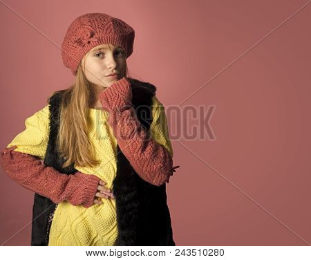 Face Fashion Little Girl Or Kid In Your Web Site. Little Girl With Long Hair. Fashion Model And Beau