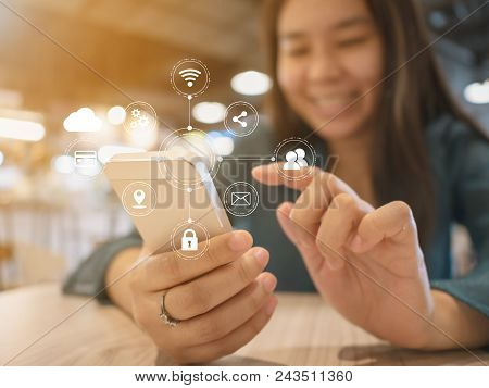 Woman Hand Using Mobile Phone With Virtual Icon Diagram. Application Connectivity Device Smartphone