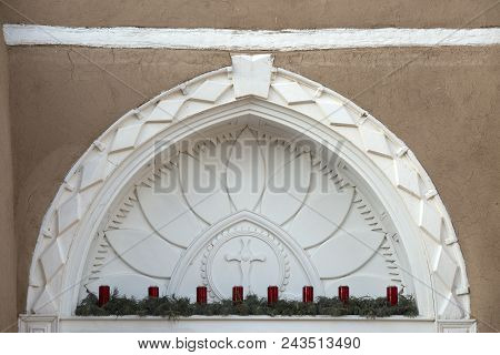 San Francisco De Asis Mission Church Archway Over The Main Door During December.
