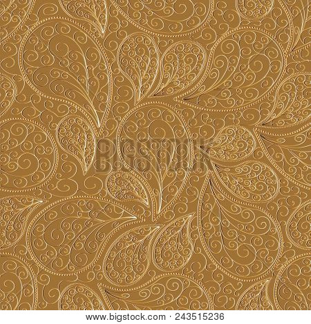 Paisleys Seamless Pattern. Beige Repeating Floral Background Wallpaper Illustration With Vintage Han