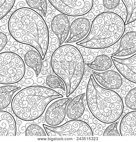 Paisleys Seamless Pattern. White Isolated Floral Background Wallpaper Illustration With Vintage Hand