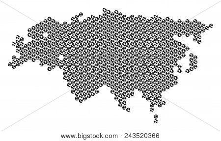 Football Ball Eurasia Map. Vector Territorial Plan On A White Background. Abstract Eurasia Map Compo
