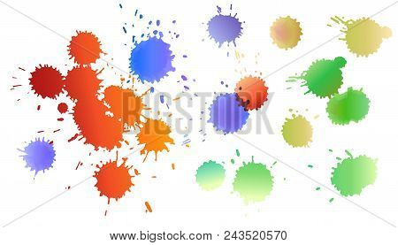 Set Of Watercolor Colored Drops Of Ink. Expanding Of Drops Spreading On Isolated White Background. G