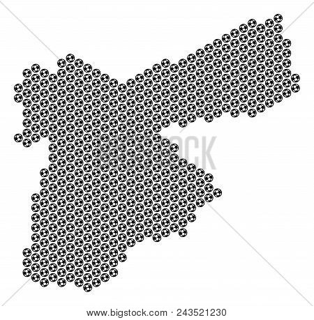 Football Ball Jordan Map. Vector Geographic Plan On A White Background. Abstract Jordan Map Collage