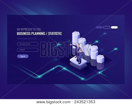 Business Planning, Statistic, Illustration With Two Businessman, Team Leader And Common Efforts, E C