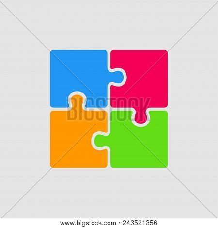Four Color Pieces Puzzle Square Infographic Presentation. 4 Steps Business Diagram. Four Section Com