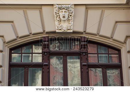 2. June 2018 Riga, Latvia .art Nouveau Building Facade Fragment Alberta 7 Street  Riga Latvia