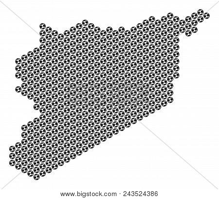 Football Ball Syria Map. Vector Geographic Scheme On A White Background. Abstract Syria Map Composit