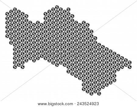 Football Ball Turkmenistan Map. Vector Territory Plan On A White Background. Abstract Turkmenistan M
