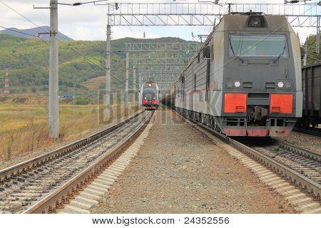 Locomotives On  Railway