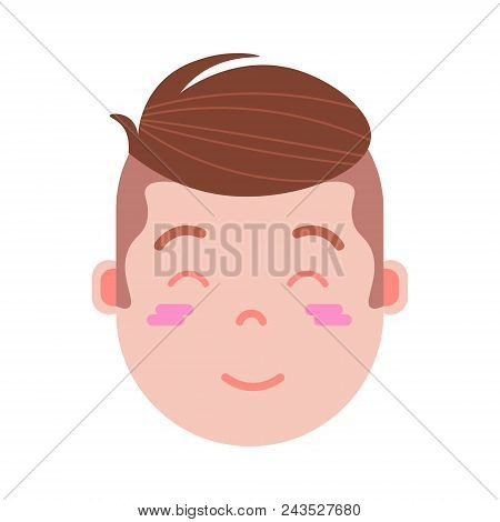 boy head emoji personage icon with facial emotions, avatar character, man embarrass face with different male emotions concept. flat design. vector illustration poster