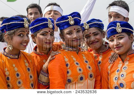 New Delhi, India - January 23, 2017 : Indian Girls Take Part In Rehearsal Activities For The Upcomin