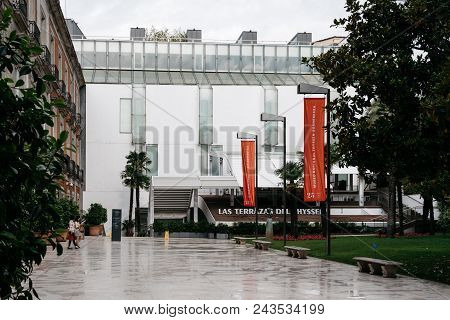 Madrid, Spain - June 2, 2018: Female Asian Tourists At Entrance To Thyssen-bornemisza Museum. It Is