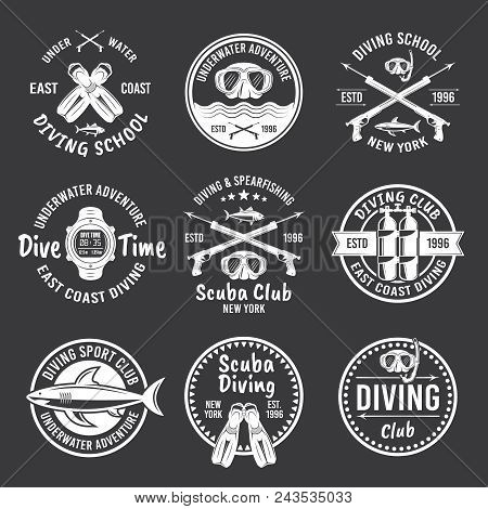Scuba Diving And Spearfishing, Diving School Or Diving Club Set Of Vector White Labels, Badges, Embl