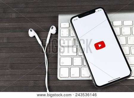Sankt-petersburg, Russia, June 2, 2018: Youtube Application Icon On Apple Iphone X Smartphone Screen