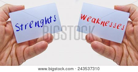 Man Hands Holding Cards With The Words Strenghts And Weaknesses For Swot Analysis