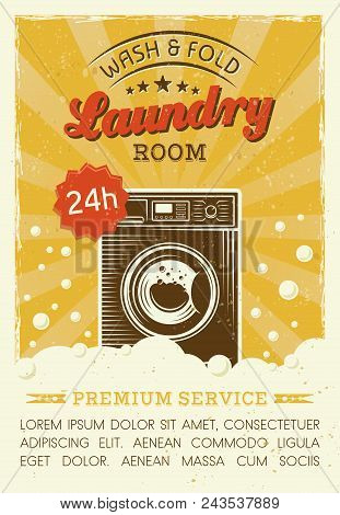 Laundry Room Vector Poster In Retro Style With Washing Machine, Foam And Bubbles, And Grunge Texture