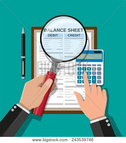 Accountant With Report, Calculator And Magnifying Glass Checks Money Balance. Financial Reports Stat
