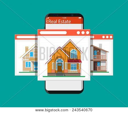 Mobile Smart Phone With Rent And Sell Apartments App. Real Estate, Sale And Rent House, Mansion. Vec