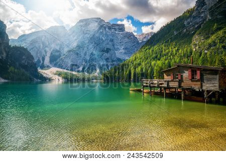 Braies Lake In Dolomites Mountains Seekofel, Italy