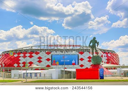 Moscow, Russia - May, 2018: Otkrytie Arena. Home Stadium Of Spartak Football Team. Fifa World Cup An