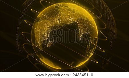 Virtual Globe Futuristic Earth Hologram Spinning Digital Planet Seamless Looping Motion Background.