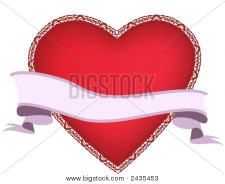 Saint Valentines Day Heart With Banner