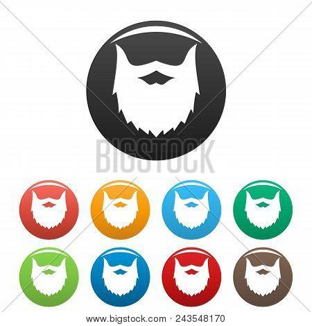 Villainous Beard Icon. Simple Illustration Of Villainous Beard Vector Icons Set Color Isolated On Wh