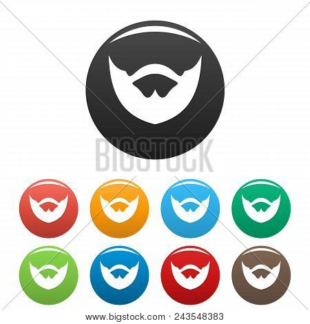 Clipped Beard Icon. Simple Illustration Of Clipped Beard Vector Icons Set Color Isolated On White