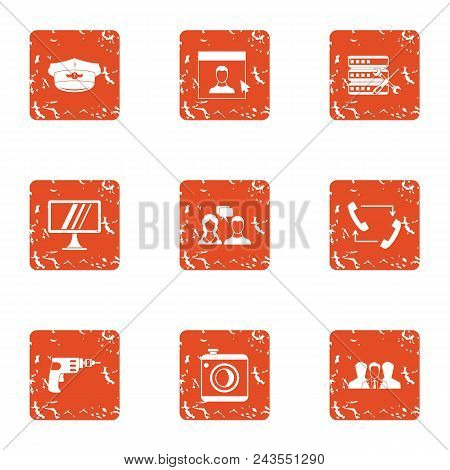 Data Carrier Icons Set. Grunge Set Of 9 Data Carrier Vector Icons For Web Isolated On White Backgrou