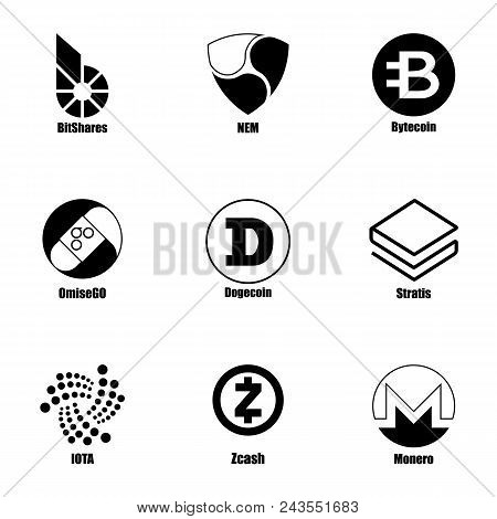 Cryptocurrency Icons Set. Simple Set Of 9 Cryptocurrency Vector Icons For Web Isolated On White Back