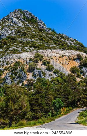 Provence Region, Alpes, France. Picturesque cliff in the French Alps. The fascinating journey to the canyon in Europe - Verdon. Concept of ecological, extreme and active tourism