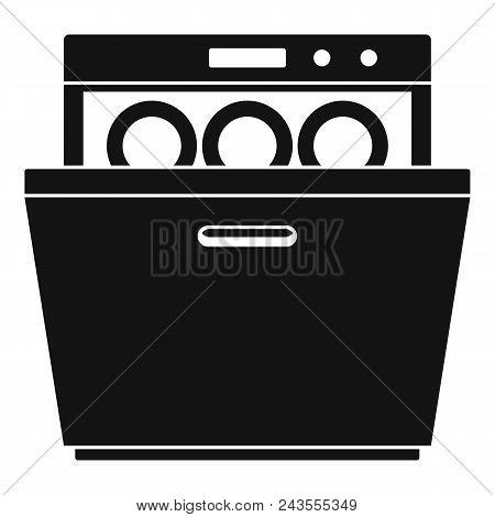Modern dishwasher icon. Simple illustration of modern dishwasher vector icon for web design isolated on white background poster