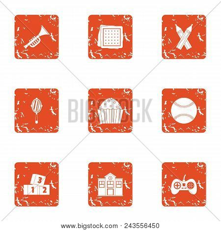 Superiority icons set. Grunge set of 9 superiority vector icons for web isolated on white background poster